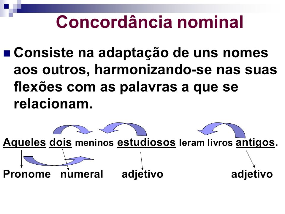 Concordância nominal Consiste na adaptação de uns nomes aos outros, harmonizando-se nas suas flexões com as palavras a que se relacionam. Aqueles dois