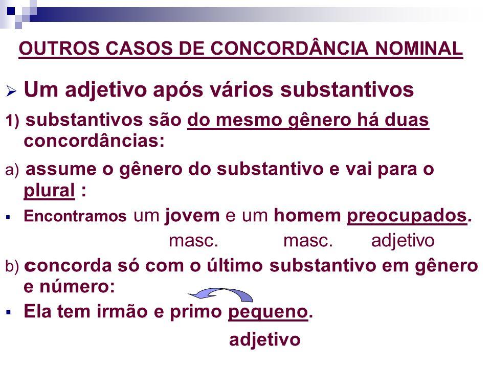 OUTROS CASOS DE CONCORDÂNCIA NOMINAL Um adjetivo após vários substantivos 1) substantivos são do mesmo gênero há duas concordâncias: a) assume o gêner