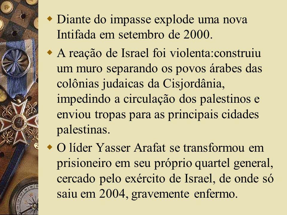 Diante do impasse explode uma nova Intifada em setembro de 2000. A reação de Israel foi violenta:construiu um muro separando os povos árabes das colôn