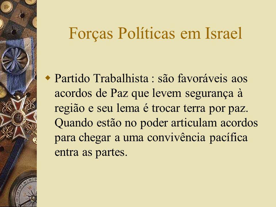 Forças Políticas em Israel Partido Trabalhista : são favoráveis aos acordos de Paz que levem segurança à região e seu lema é trocar terra por paz. Qua