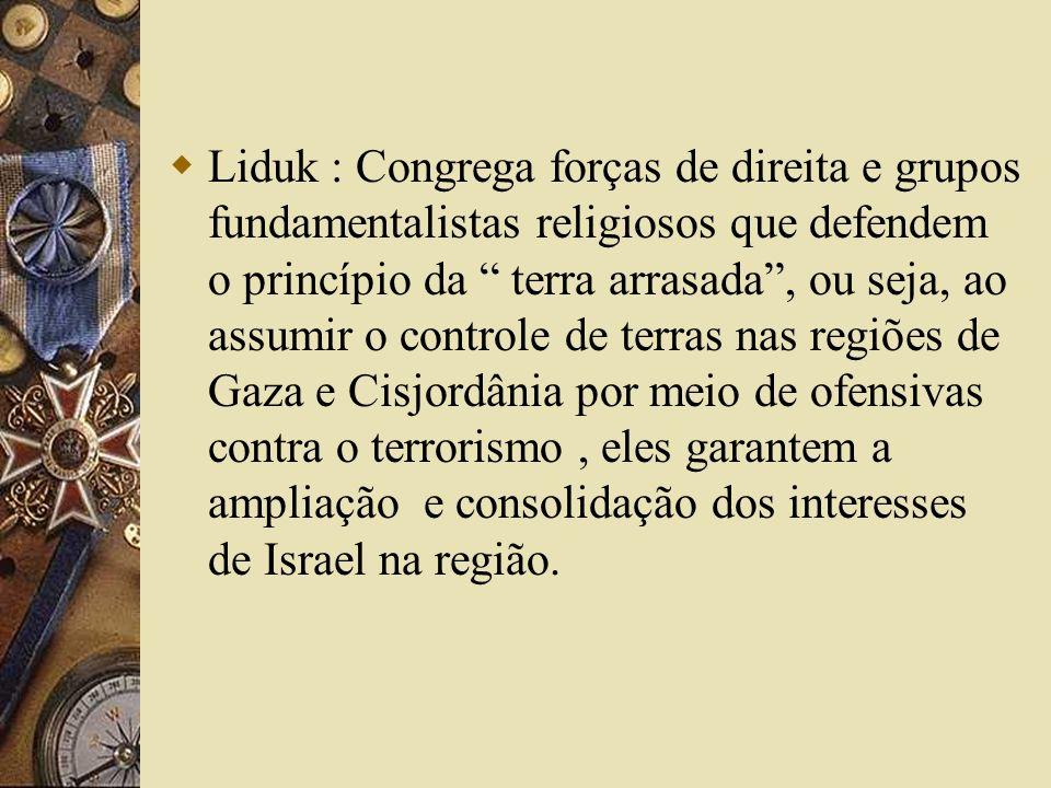 Liduk : Congrega forças de direita e grupos fundamentalistas religiosos que defendem o princípio da terra arrasada, ou seja, ao assumir o controle de