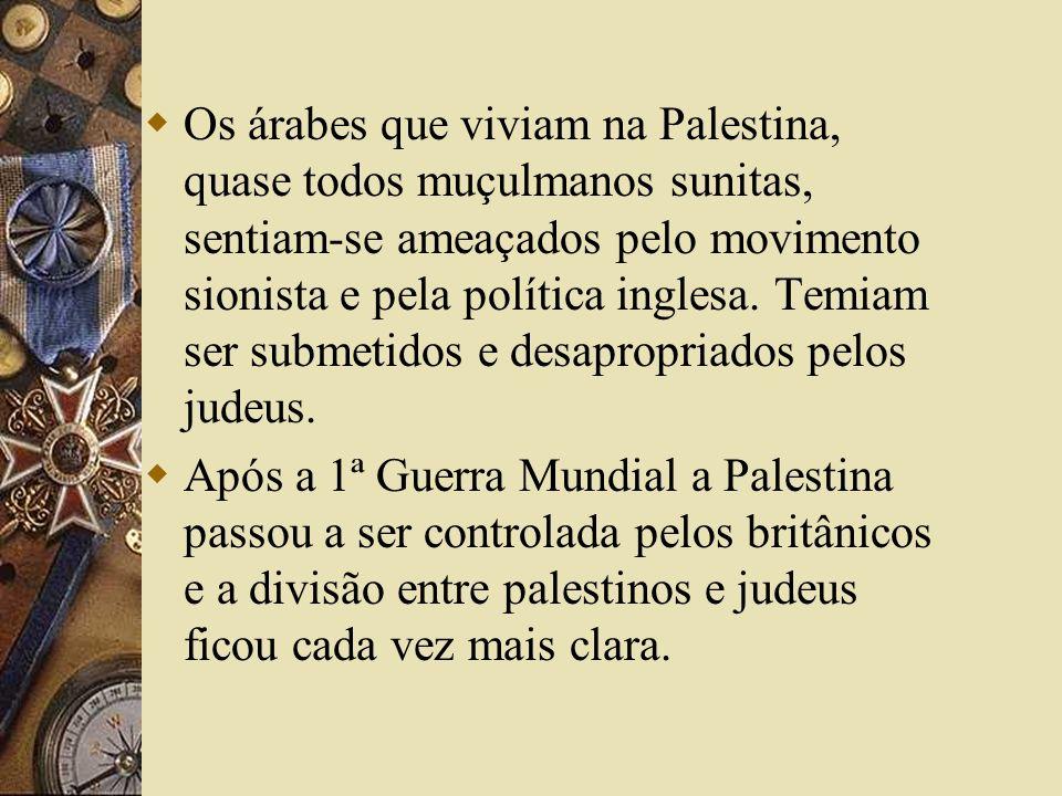 Os árabes que viviam na Palestina, quase todos muçulmanos sunitas, sentiam-se ameaçados pelo movimento sionista e pela política inglesa. Temiam ser su