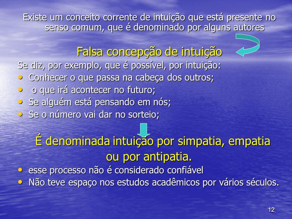 12 Existe um conceito corrente de intuição que está presente no senso comum, que é denominado por alguns autores Falsa concepção de intuição Se diz, p