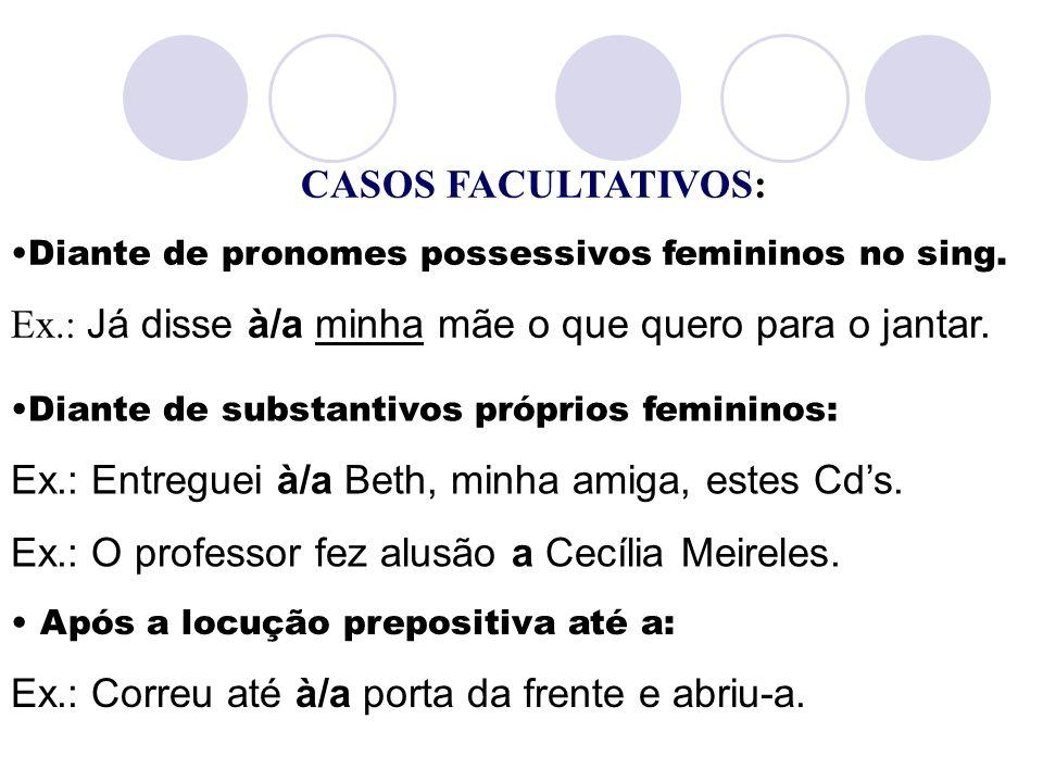 CASOS FACULTATIVOS: Diante de pronomes possessivos femininos no sing. Ex.: Já disse à/a minha mãe o que quero para o jantar. Diante de substantivos pr