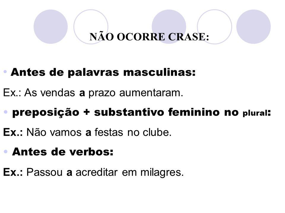 Nomes de lugar que não admitem artigo: Ex.: O vocalista irá a Curitiba para uma apresentação.