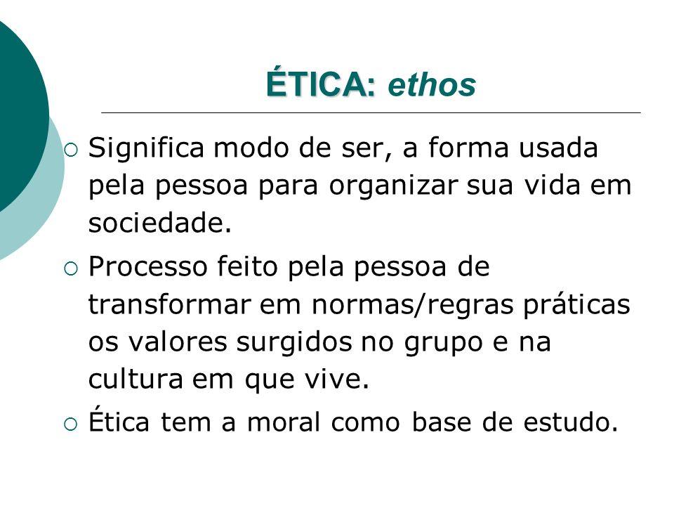 ÉTICA: ÉTICA: ethos Significa modo de ser, a forma usada pela pessoa para organizar sua vida em sociedade. Processo feito pela pessoa de transformar e
