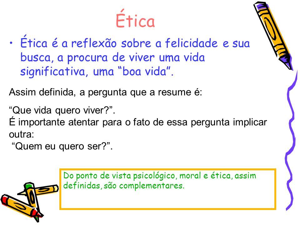 Ética Ética é a reflexão sobre a felicidade e sua busca, a procura de viver uma vida significativa, uma boa vida. Do ponto de vista psicológico, moral