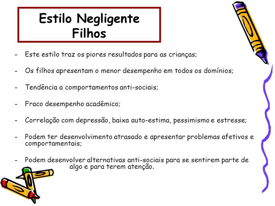 Estilo Negligente Filhos -Este estilo traz os piores resultados para as crianças; -Os filhos apresentam o menor desempenho em todos os domínios; -Tend