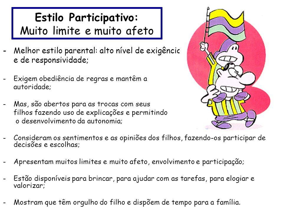 Estilo Participativo: Muito limite e muito afeto -Melhor estilo parental: alto nível de exigência e de responsividade; -Exigem obediência de regras e