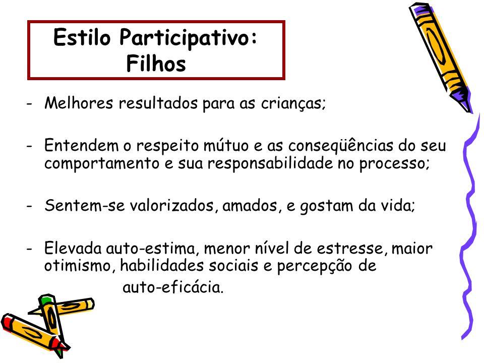 Estilo Participativo: Filhos -Melhores resultados para as crianças; -Entendem o respeito mútuo e as conseqüências do seu comportamento e sua responsab