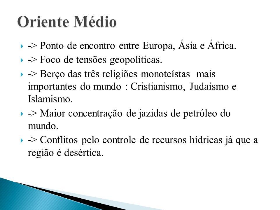 -> Ponto de encontro entre Europa, Ásia e África.-> Foco de tensões geopolíticas.