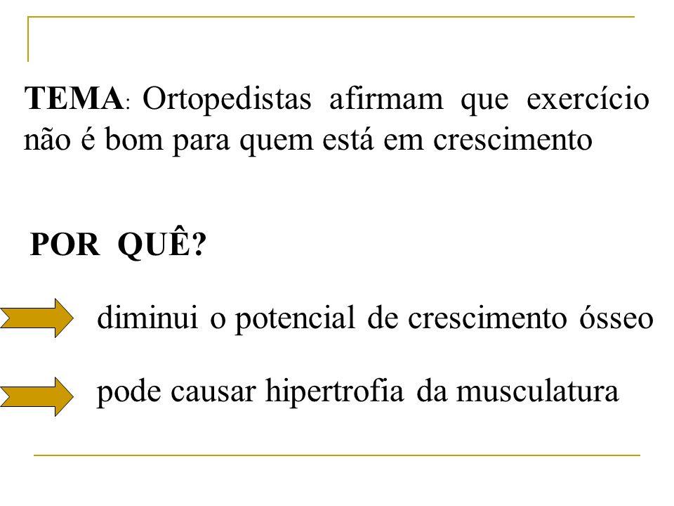 TEMA : Ortopedistas afirmam que exercício não é bom para quem está em crescimento POR QUÊ? diminui o potencial de crescimento ósseo pode causar hipert
