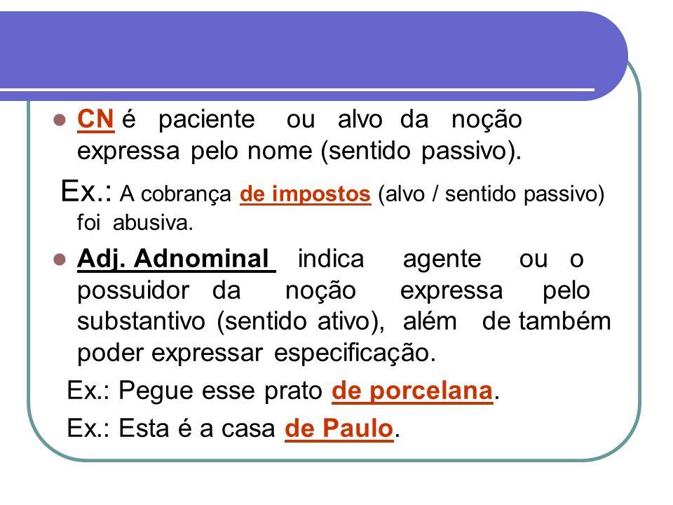 CN é paciente ou alvo da noção expressa pelo nome (sentido passivo). Ex.: A cobrança de impostos (alvo / sentido passivo) foi abusiva. Adj. Adnominal