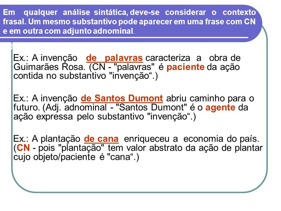 adnominal Ex.: A invenção de palavras caracteriza a obra de Guimarães Rosa. (CN -