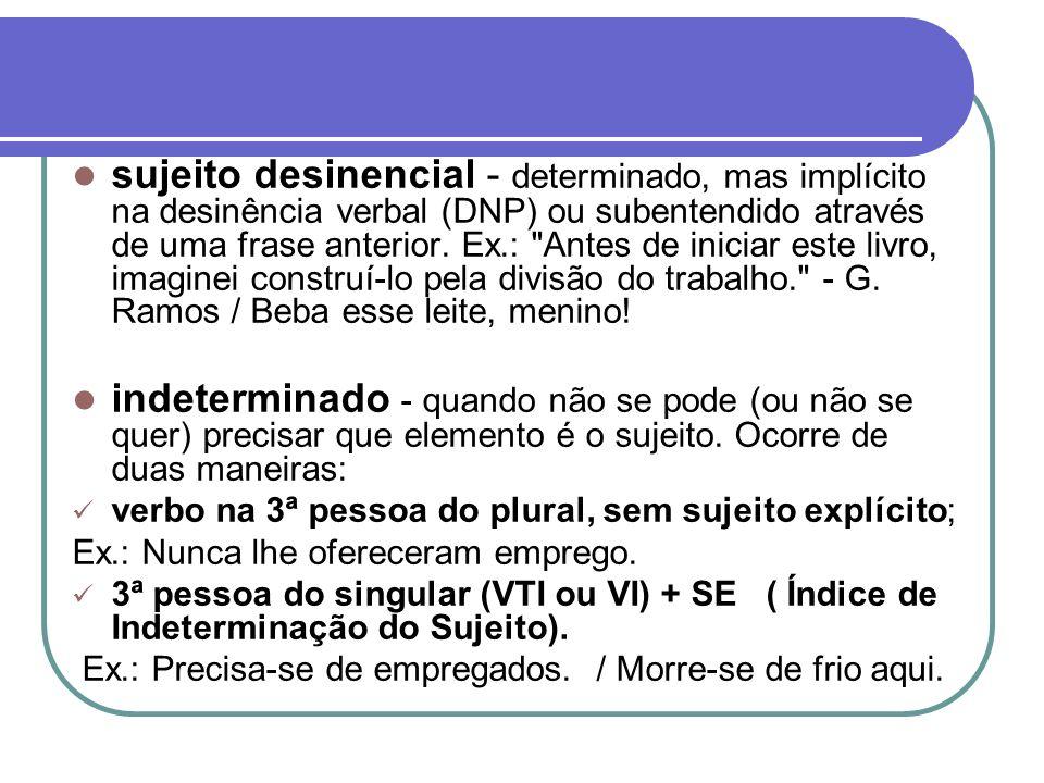 sujeito desinencial - determinado, mas implícito na desinência verbal (DNP) ou subentendido através de uma frase anterior. Ex.: