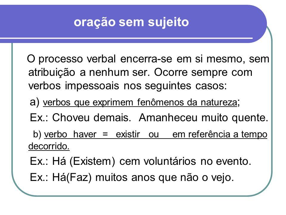 c) verbos fazer, ser, ir e estar indicando tempo cronológico ou clima.