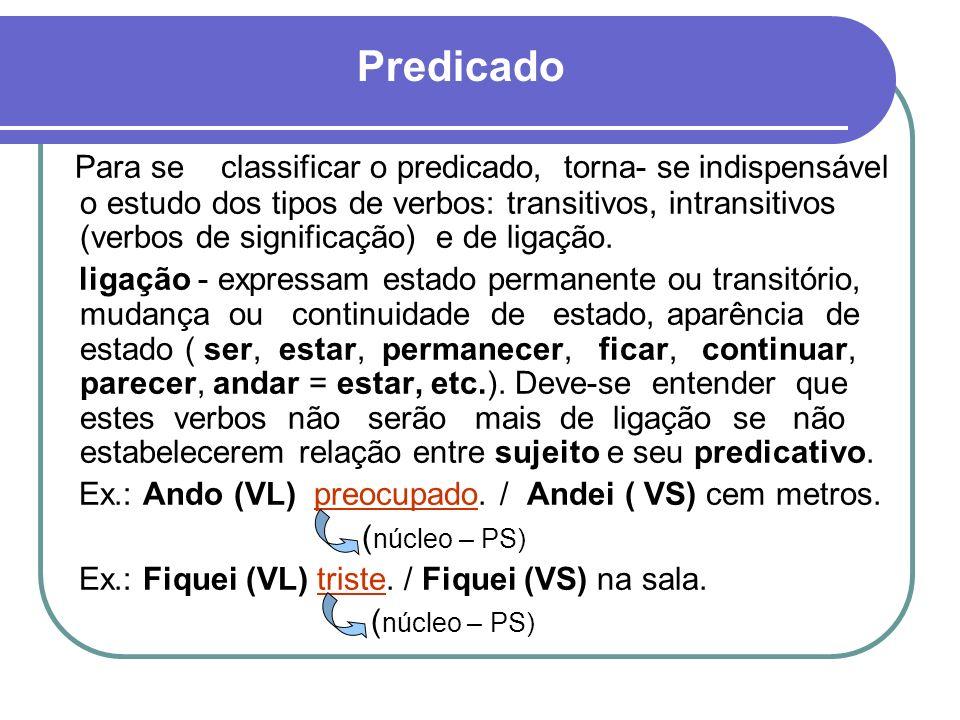 Para se classificar o predicado, torna- se indispensável o estudo dos tipos de verbos: transitivos, intransitivos (verbos de significação) e de ligaçã
