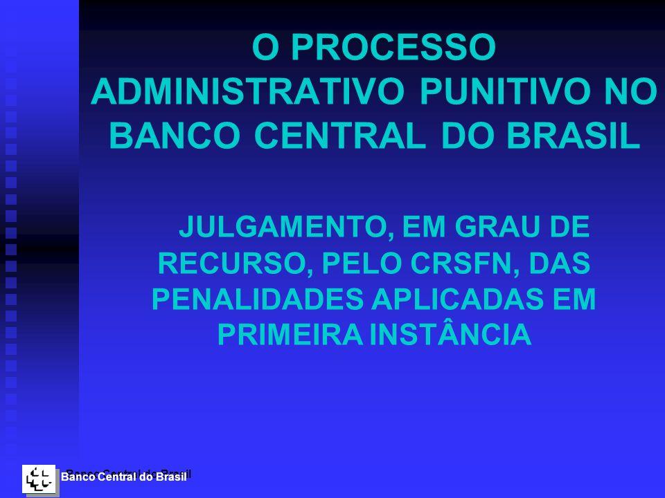 Banco Central do Brasil O PROCESSO ADMINISTRATIVO PUNITIVO NO BANCO CENTRAL DO BRASIL JULGAMENTO, EM GRAU DE RECURSO, PELO CRSFN, DAS PENALIDADES APLI