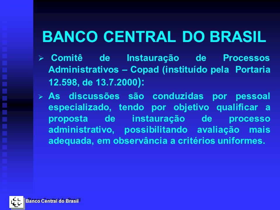 Banco Central do Brasil BANCO CENTRAL DO BRASIL Comitê de Instauração de Processos Administrativos – Copad (instituído pela Portaria 12.598, de 13.7.2