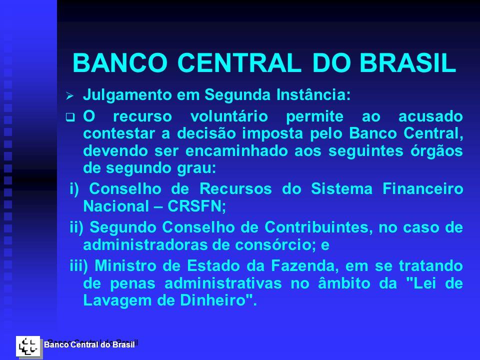 Banco Central do Brasil BANCO CENTRAL DO BRASIL Julgamento em Segunda Instância: O recurso voluntário permite ao acusado contestar a decisão imposta p