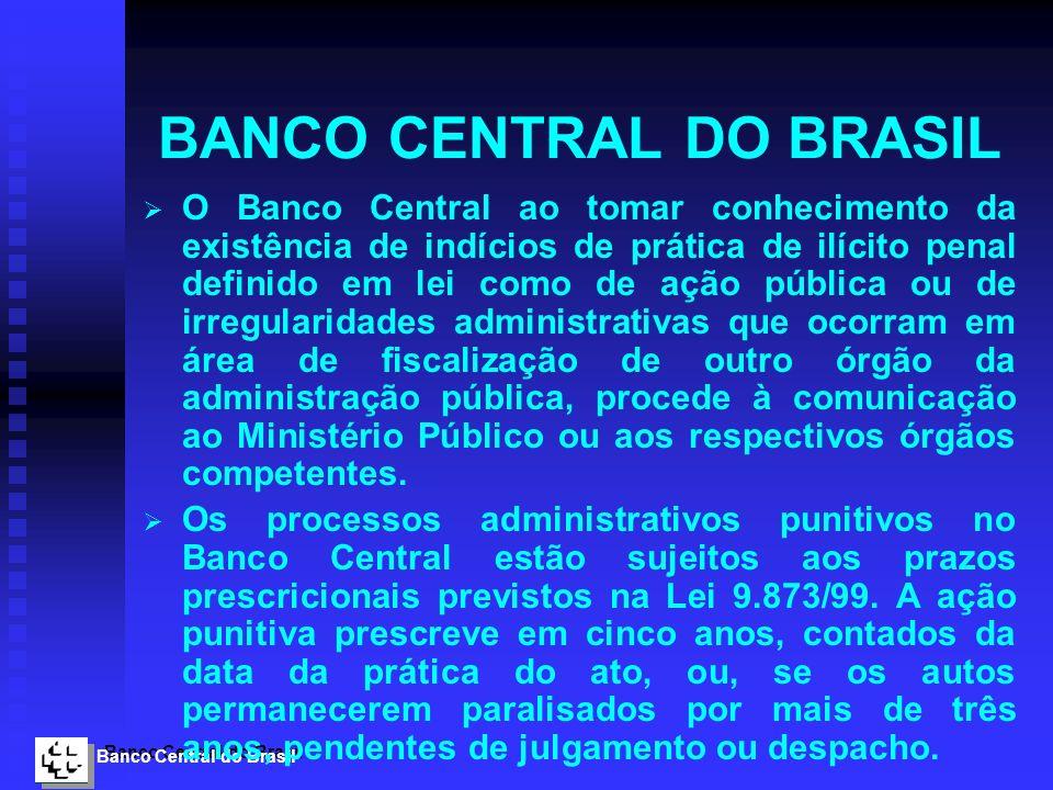 Banco Central do Brasil BANCO CENTRAL DO BRASIL O Banco Central ao tomar conhecimento da existência de indícios de prática de ilícito penal definido e