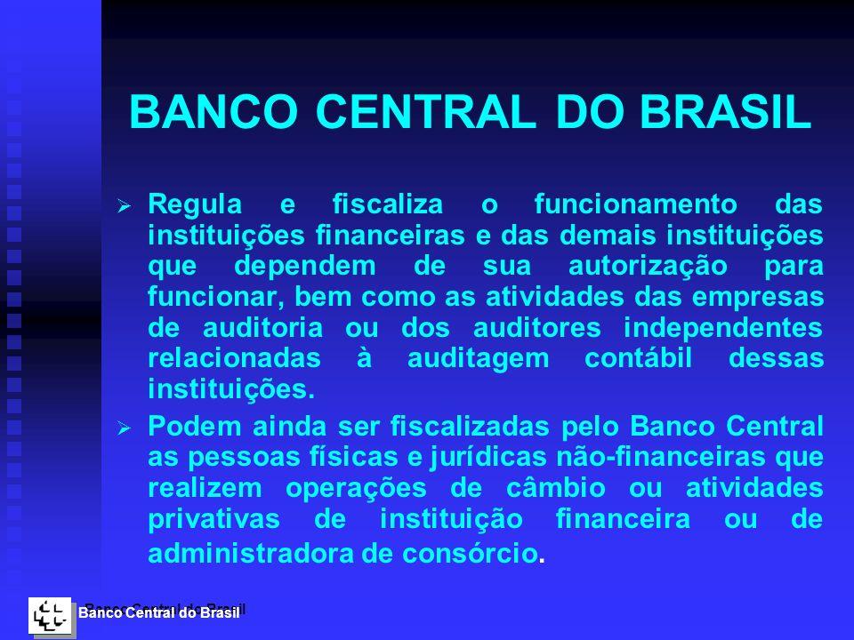 Banco Central do Brasil BANCO CENTRAL DO BRASIL Regula e fiscaliza o funcionamento das instituições financeiras e das demais instituições que dependem
