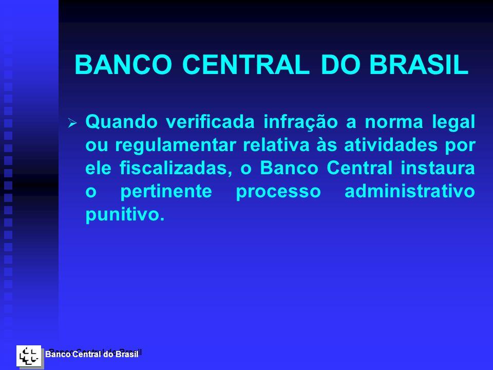Banco Central do Brasil BANCO CENTRAL DO BRASIL Quando verificada infração a norma legal ou regulamentar relativa às atividades por ele fiscalizadas,
