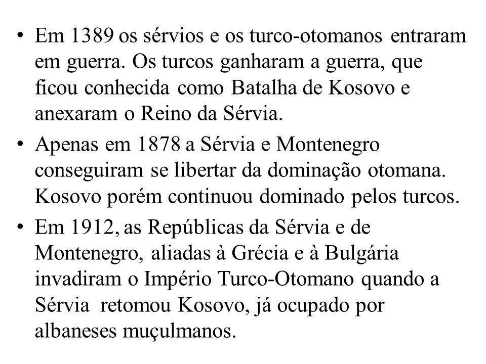 Em 1389 os sérvios e os turco-otomanos entraram em guerra. Os turcos ganharam a guerra, que ficou conhecida como Batalha de Kosovo e anexaram o Reino