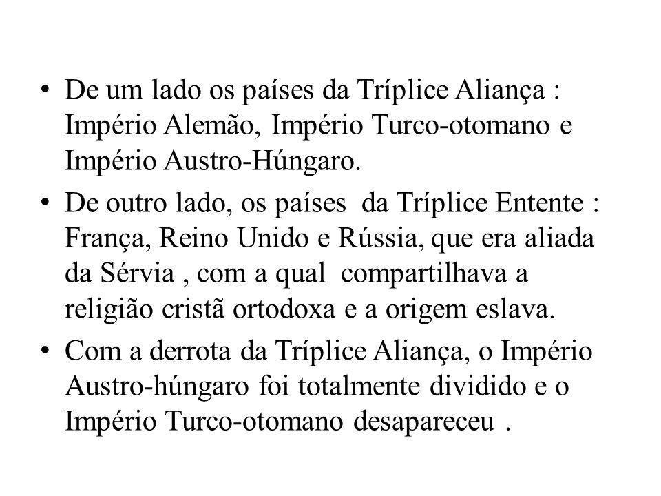 De um lado os países da Tríplice Aliança : Império Alemão, Império Turco-otomano e Império Austro-Húngaro. De outro lado, os países da Tríplice Entent