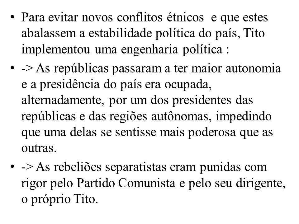 Para evitar novos conflitos étnicos e que estes abalassem a estabilidade política do país, Tito implementou uma engenharia política : -> As repúblicas