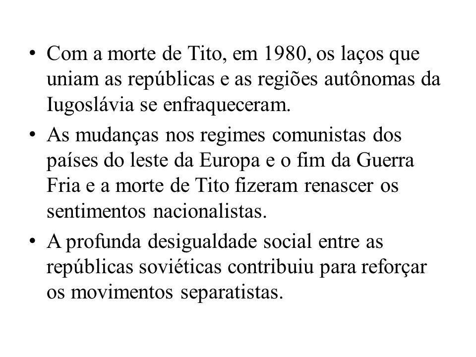 Com a morte de Tito, em 1980, os laços que uniam as repúblicas e as regiões autônomas da Iugoslávia se enfraqueceram. As mudanças nos regimes comunist