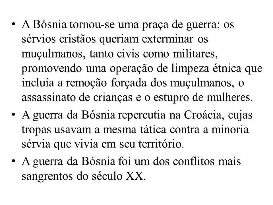 A Bósnia tornou-se uma praça de guerra: os sérvios cristãos queriam exterminar os muçulmanos, tanto civis como militares, promovendo uma operação de l