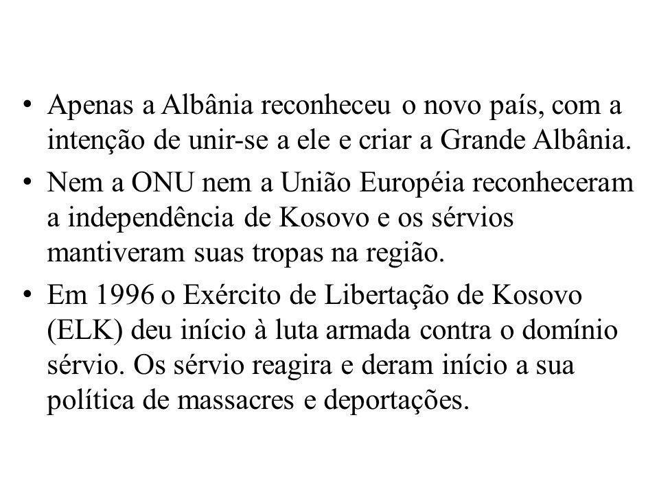 Apenas a Albânia reconheceu o novo país, com a intenção de unir-se a ele e criar a Grande Albânia. Nem a ONU nem a União Européia reconheceram a indep