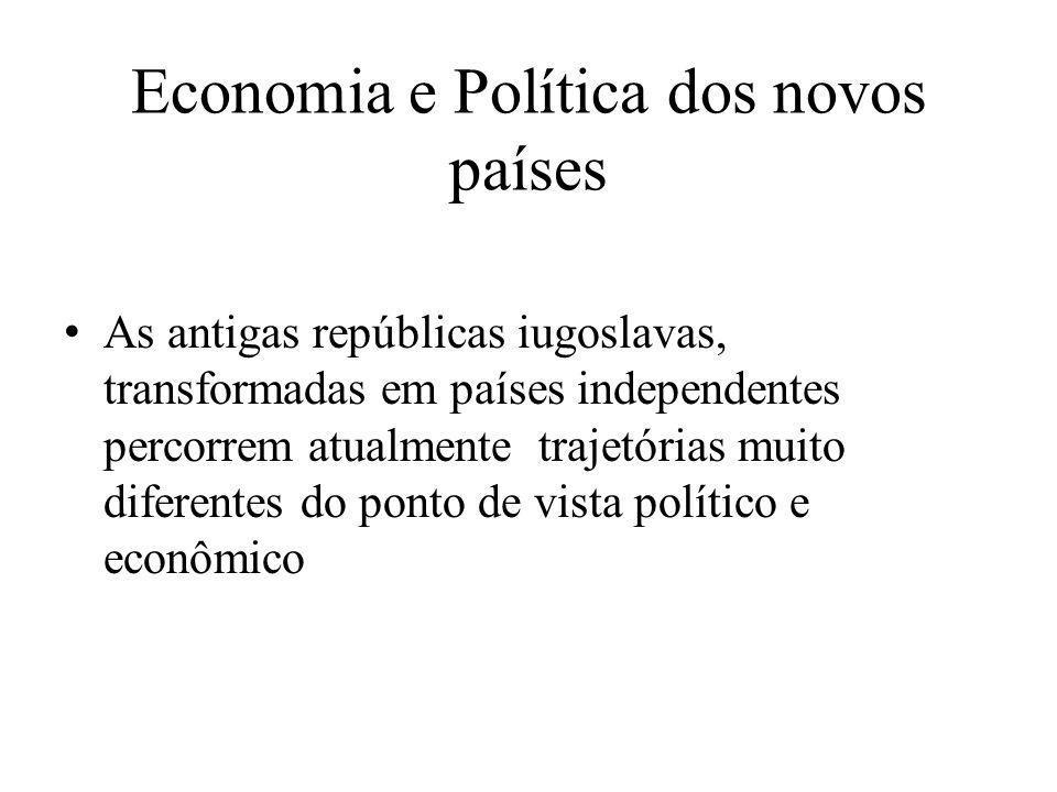 Economia e Política dos novos países As antigas repúblicas iugoslavas, transformadas em países independentes percorrem atualmente trajetórias muito di
