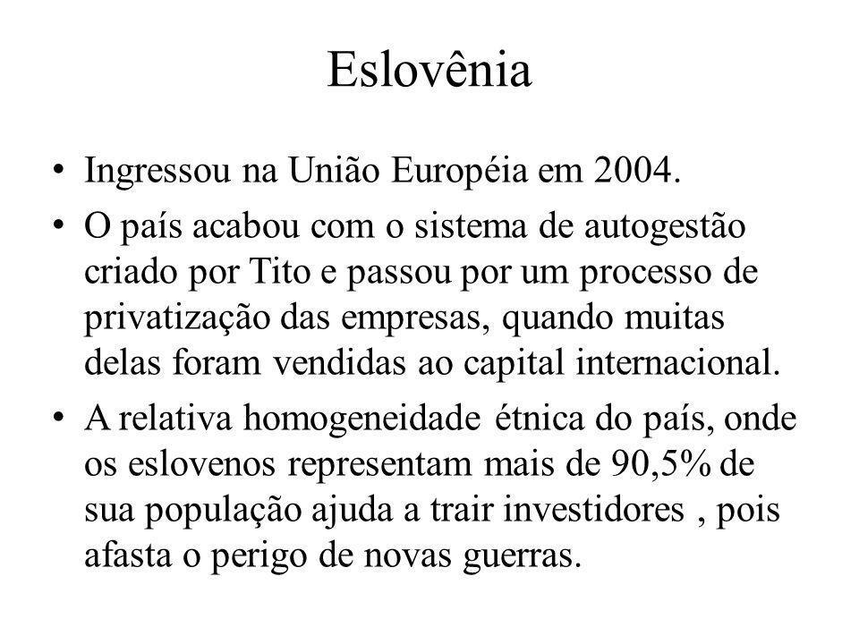 Ingressou na União Européia em 2004. O país acabou com o sistema de autogestão criado por Tito e passou por um processo de privatização das empresas,