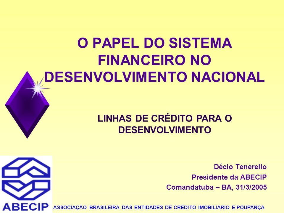 2 LINHAS DE CRÉDITO PARA O DESENVOLVIMENTO O CRÉDITO IMOBILIÁRIO DECISÕES RECENTES 1- RESPONSABILIDADE POR VíCIOS CONSTRUTIVOS DECISÃO DO STJ EM 2/12/2004: O AGENTE FINANCEIRO É PARTE LEGITIMA NA AÇÃO, UMA VEZ QUE NÃO SE CINGIU A FINANCIAR A CONSTUÇÃO DO EDIFÍCIO, ELE PROPICIOU AOS AUTORES OS RECURSOS NECESSÁRIOS PARA QUE PUDESSEM ADQUIRIR AS UNIDADES HABITACIONAIS.