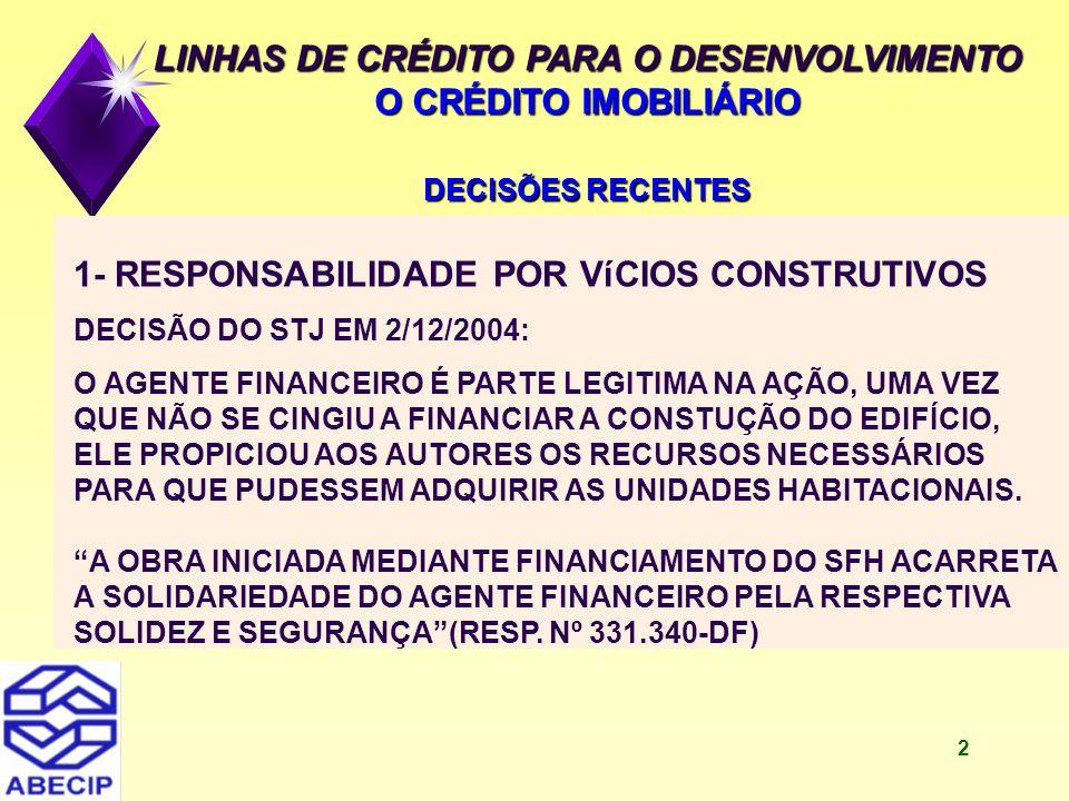 3 LINHAS DE CRÉDITO PARA O DESENVOLVIMENTO O CRÉDITO IMOBILIÁRIO DECISÕES RECENTES 2- REAJUSTE DO SALDO DEVEDOR PELO MESMO AUMENTO DO SALÁRIO DO ADQUIRENTE DECISÃO DO STJ EM 24/8/2004: O SALDO DEVEDOR DEVE SER CORRIGIDO PELO ÍNDICE DE AUMENTO DO SALÁRIO DO ADQUIRENTE, ASSIM COMO O ENCARGO MENSAL.