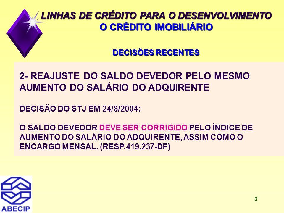 4 LINHAS DE CRÉDITO PARA O DESENVOLVIMENTO O CRÉDITO IMOBILIÁRIO DECISÕES RECENTES 3- REAJUSTE DO SALDO DEVEDOR PELO MESMO AUMENTO DO SALÁRIO DO MUTUÁRIO DECISÃO DO STJ EM 14/12/2004: NÃO CABE CORRIGIR O SALDO DEVEDOR PELO íNDICE DE AUMENTO DO SALÁRIO DO ADQUIRENTE, TENDO EM VISTA O SALDO DEVEDOR ESTAR VINCULADO AOS RECURSOS DA POUPANÇA, QUE VIABILIZARAM A OPERAÇÃO DE EMPRÉSTIMO.(RESP.