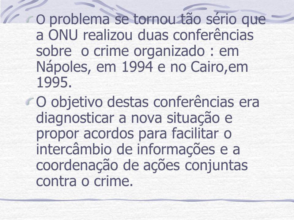 O problema se tornou tão sério que a ONU realizou duas conferências sobre o crime organizado : em Nápoles, em 1994 e no Cairo,em 1995. O objetivo dest