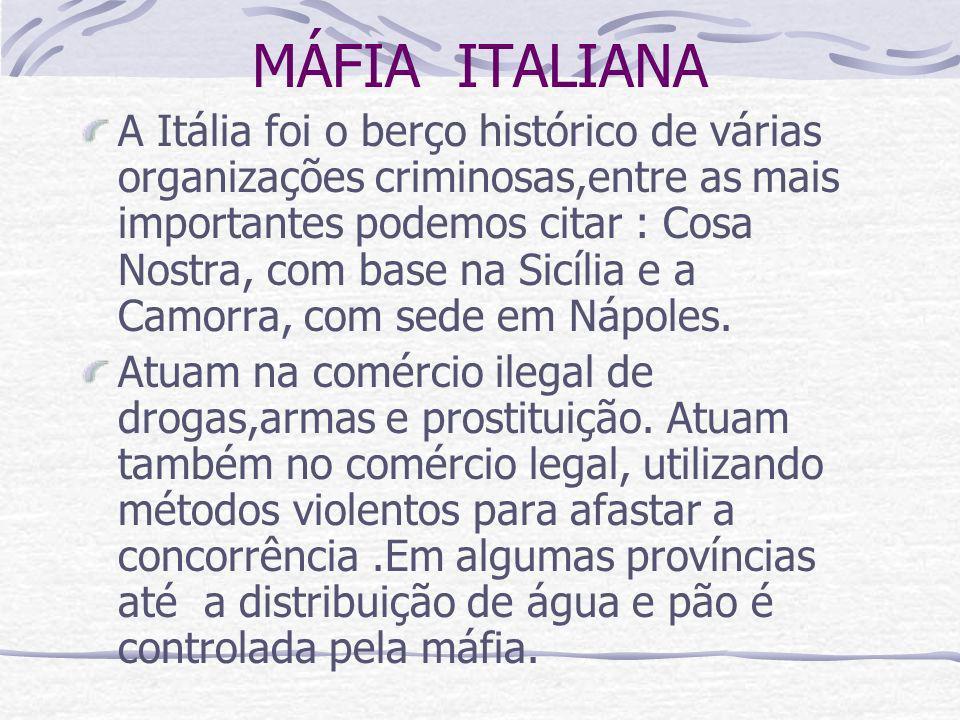 MÁFIA ITALIANA A Itália foi o berço histórico de várias organizações criminosas,entre as mais importantes podemos citar : Cosa Nostra, com base na Sic