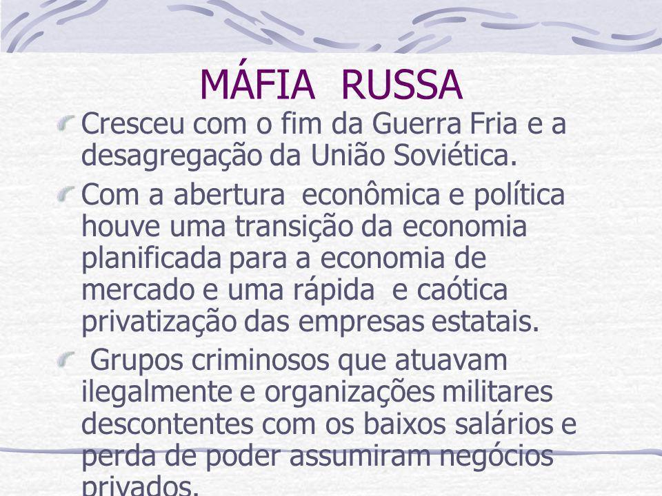 MÁFIA RUSSA Cresceu com o fim da Guerra Fria e a desagregação da União Soviética. Com a abertura econômica e política houve uma transição da economia