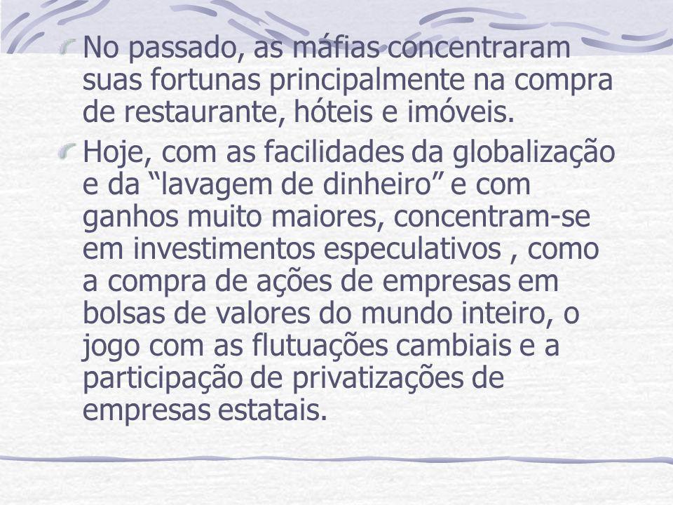No passado, as máfias concentraram suas fortunas principalmente na compra de restaurante, hóteis e imóveis. Hoje, com as facilidades da globalização e