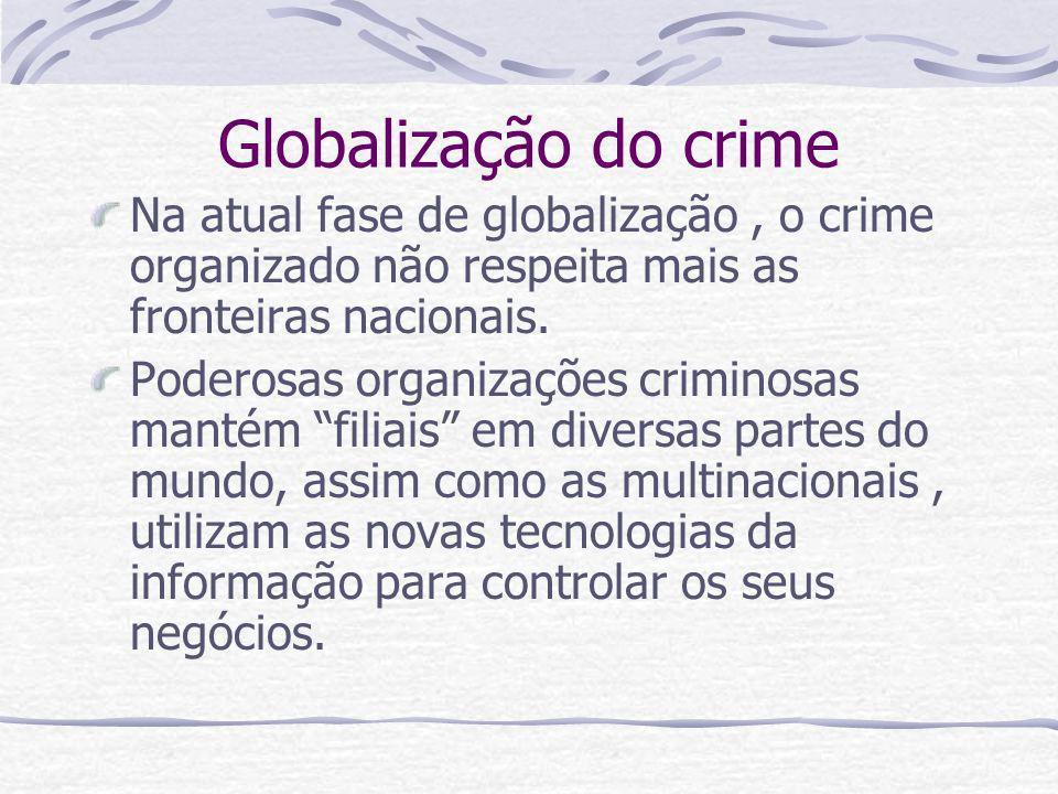 Globalização do crime Na atual fase de globalização, o crime organizado não respeita mais as fronteiras nacionais. Poderosas organizações criminosas m