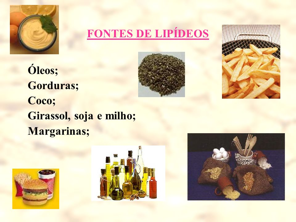 FONTES DE LIPÍDEOS Óleos; Gorduras; Coco; Girassol, soja e milho; Margarinas;