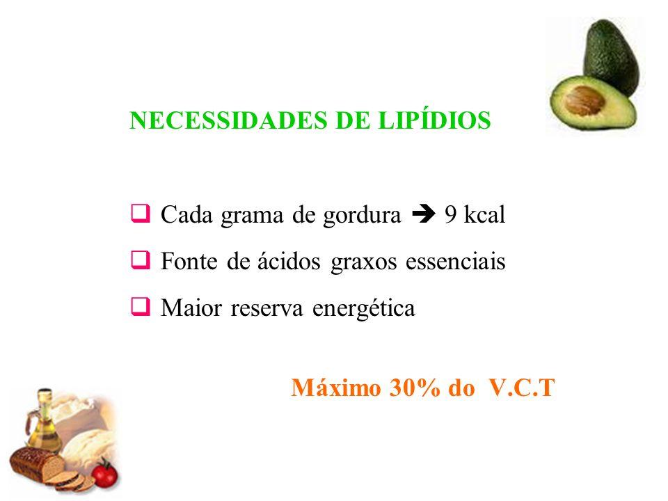 NECESSIDADES DE LIPÍDIOS Cada grama de gordura 9 kcal Fonte de ácidos graxos essenciais Maior reserva energética Máximo 30% do V.C.T