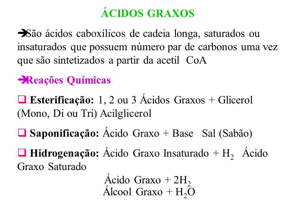 ÁCIDOS GRAXOS São ácidos caboxílicos de cadeia longa, saturados ou insaturados que possuem número par de carbonos uma vez que são sintetizados a parti