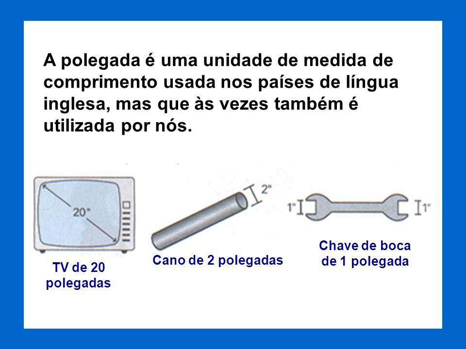A polegada corresponde a aproximadamente 2 centímetros e meio. cm pol