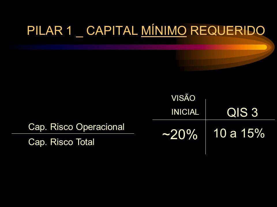 PILAR 1 _ CAPITAL MÍNIMO REQUERIDO Cap. Risco Operacional Cap. Risco Total VISÃO INICIAL QIS 3 ~20% 10 a 15%