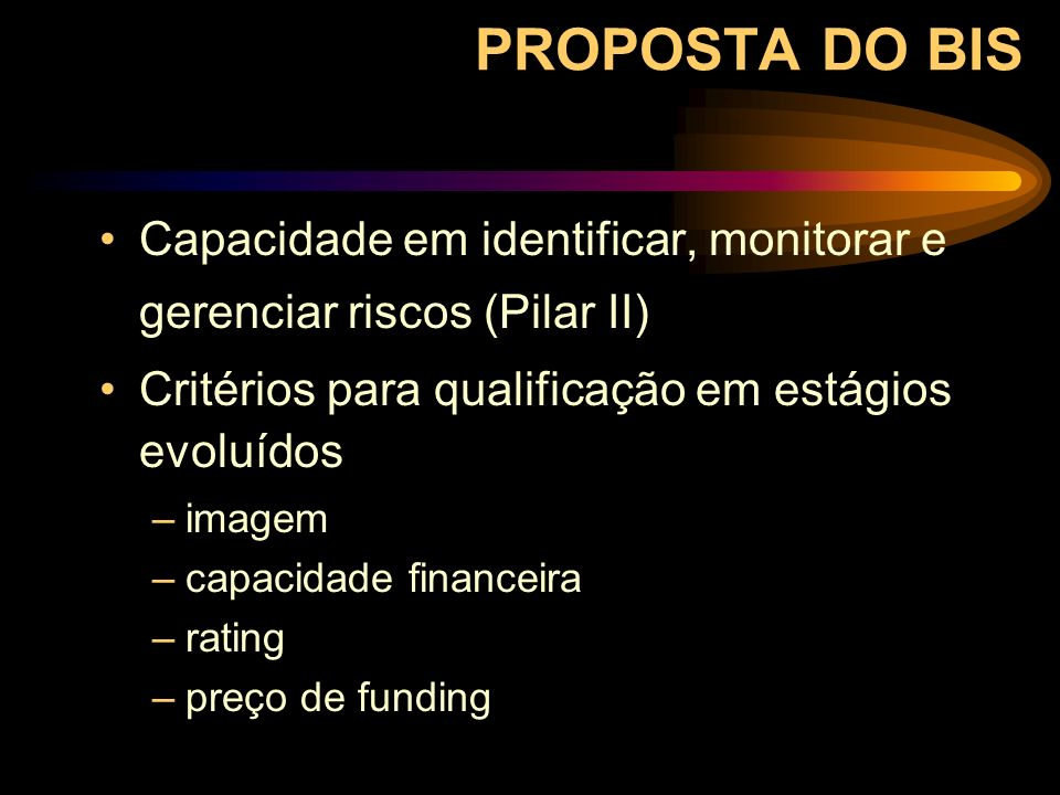 PROPOSTA DO BIS Capacidade em identificar, monitorar e gerenciar riscos (Pilar II) Critérios para qualificação em estágios evoluídos –imagem –capacida