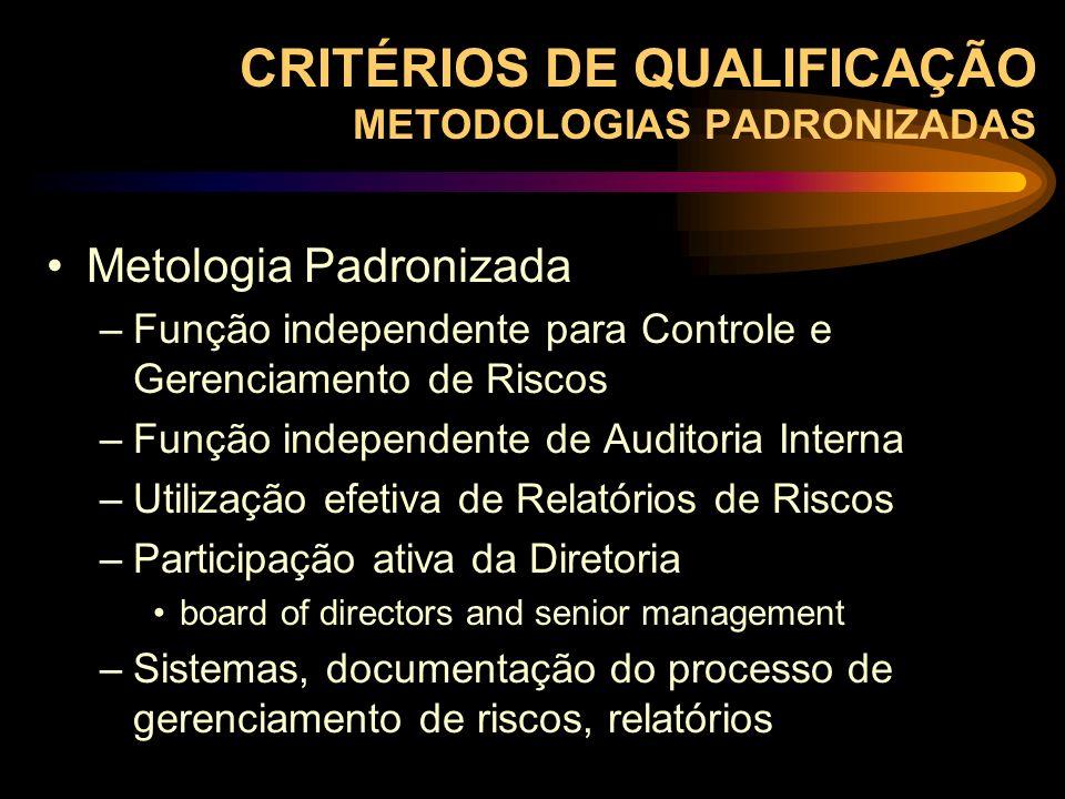 CRITÉRIOS DE QUALIFICAÇÃO METODOLOGIAS PADRONIZADAS Metologia Padronizada –Função independente para Controle e Gerenciamento de Riscos –Função indepen